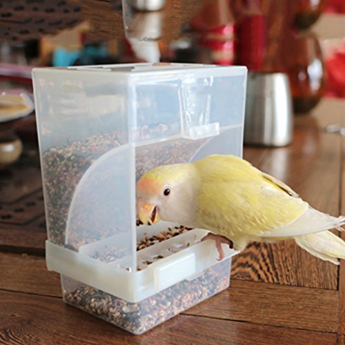 Hacloser Automatic Poultry Feeder for Bird, Acrylic Food Container in Parrot Pigeon Splash Cage Hanging Feeding Bowl