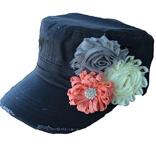 La Bella Rose Boutique Womens Cadet Flower Hat Distressed Military Hat Baseball Cap Cotton Twill Hat (Grey & Peach)