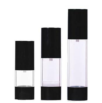ericotry 3 botellas de plástico recargables para botellas negras sin aire, loción, tóner para cosméticos, almacenamiento líquido, dispensador de botellas de ...