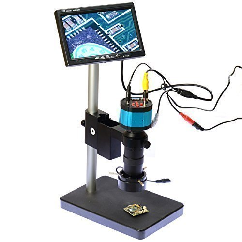 2.0mp Hd 2 In1 Industry Digital Microscope Camera 8x-100x Zoom C-mount Lens with Table Stand 7'' Inch LCD Monitor by Generic