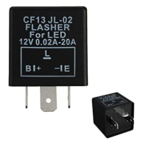 iJDMTOY (1) 3-Pin CF-13 Electronic Flasher Relay Fix For LED Turn Signal Light Bulbs