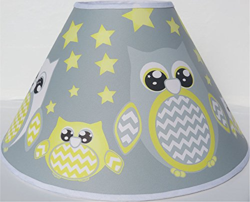 Grey and Yellow Owl Lamp Shade / Children's Yellow Owl Nursery Room Decor