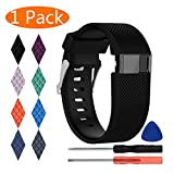 KingAcc Fitbit Charge HR Bands, Silicone Accessory Replacement Band for Fitbit Charge HR, With Metal Buckle Fitness Sport Wristband Strap Women Men (1-Pack, Black, Large)