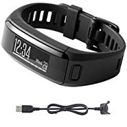 Garmin vivosmart HR Activity Tracker Regular Fit Black Charging Cable Bundle includes vivosmart HR and Charging Cable