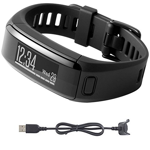 Garmin vivosmart HR Activity Tracker Regular Fit Black Charging Cable Bundle includes vivosmart HR and Charging Cable by Garmin