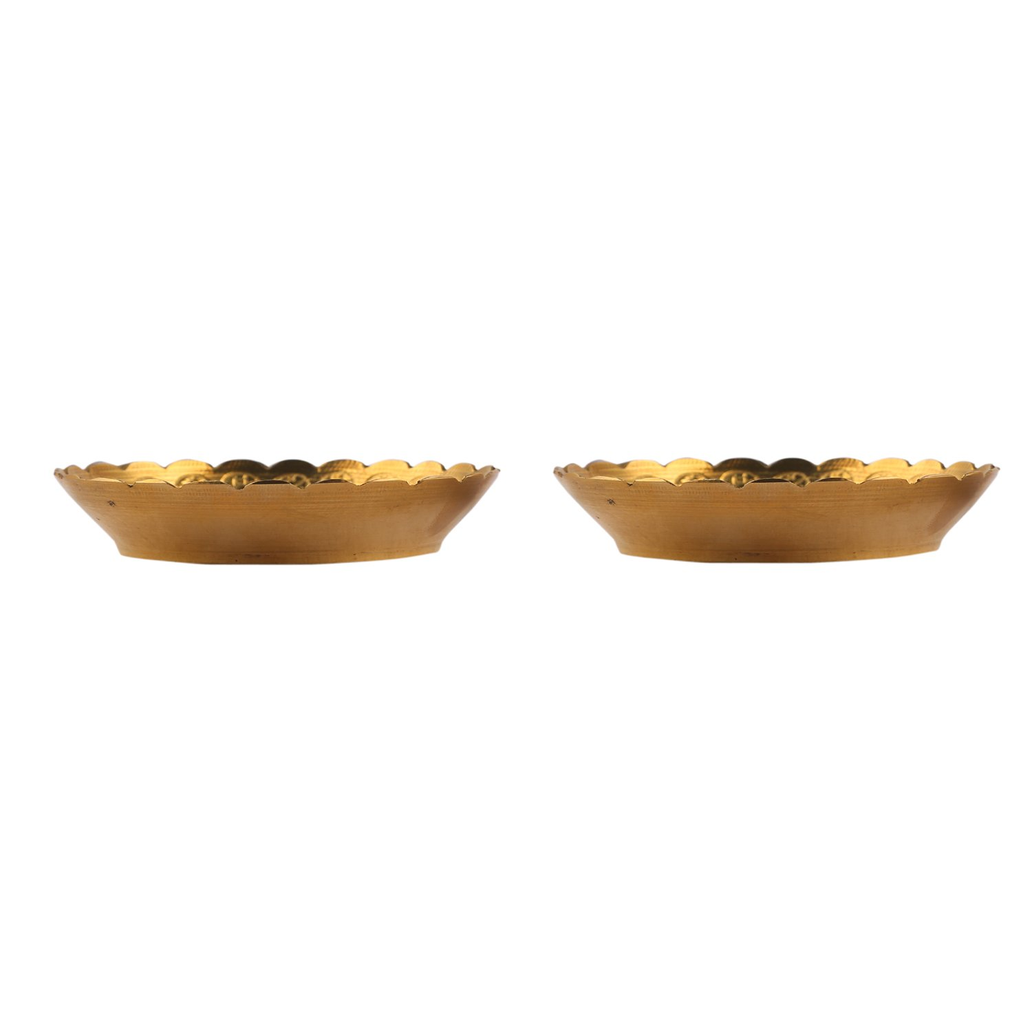 Aatm Brass Embossed Designed Puja Plate in Pair Best for Home /& Office Decoration /& Gift Purpose Handicraft 3.5 Inch /