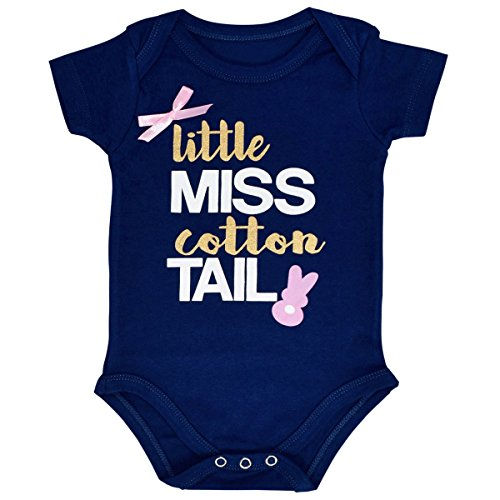 Unique Baby Girls Little Miss Cotton Tail Easter Bunny Onesie (Newborn) -