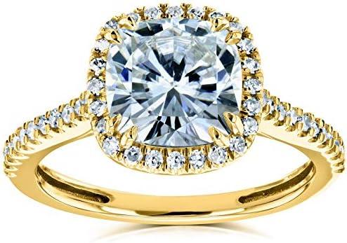 Kobelli Forever One Cushion Moissanite Halo Engagement Ring 2 1/4 CTW 14k Yellow Gold (DEF/VS, GH/I)