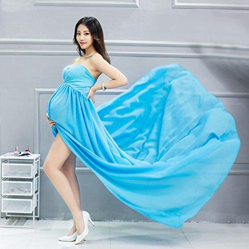Hopeverl Vestido de maternidad de gasa Split Front Maxi vestido de maternidad de fotografía para la sesión fotográfica Azul