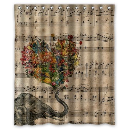 Generic Personalized Music Note and Elephant with Colorful Paisley Heart for Shower Curtain Bath Curtain 60 x72