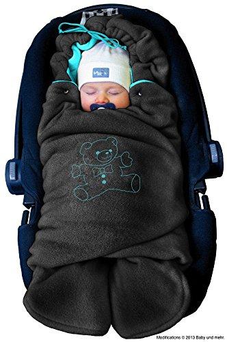 ByBUM - Baby Winter-Einschlagdecke 'Das Original mit dem Bären', Universal für Babyschale, Autositz, z.B. für Maxi-Cosi, Römer, für Kinderwagen, Buggy oder Babybett, Farbe:Anthrazit/Aqua