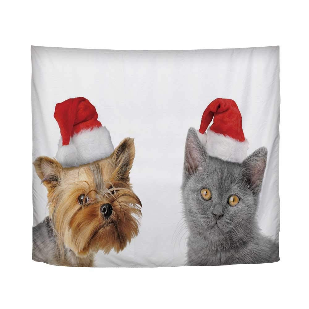 YOLIYANA Christmas,Adorable Cat and Dog with Xmas Hats Domestic Pet Animals Holiday Celebration Decorative,61'' L x 79'' W