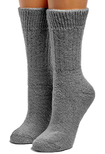Alpaca Socks - Warrior Alpaca Socks - Women's Toasty Toes Ultimate Alpaca Socks (Large, Grey Heather)