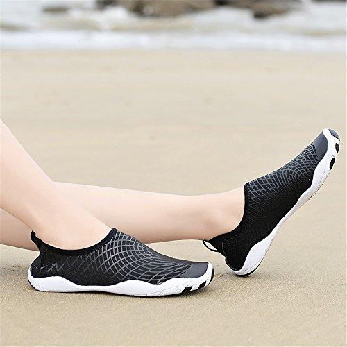 Männer und Frauen Barfuß Quick-Dry Wasser Schuhe Sport Aqua Durable Outsole Schuhe für Schwimmen Walking Yoga See Beach Garden Park Fahren Bootfahren Slip-On Skin Surf Sneakers 1768-1schwarz
