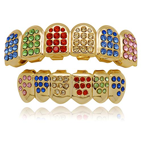LuReen 14k Gold Plated Iced Out Grills with Rainbow Diamond Hip Hop Teeth Top and Bottom Set (Rainbow - Grills Teeth Top