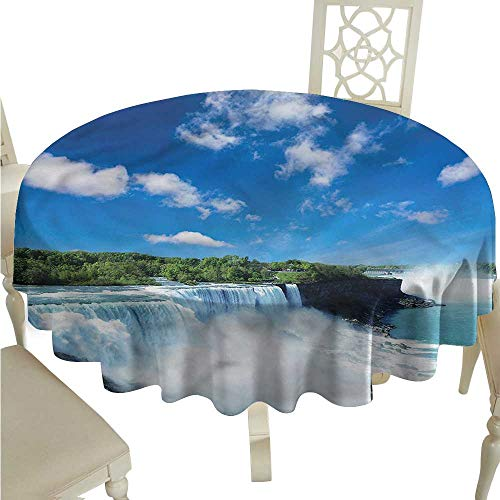 ScottDecor Wrinkle Free Tablecloths Waterfall,Niagara Falls in The USA Fabric Tablecloth Round Tablecloth D 54