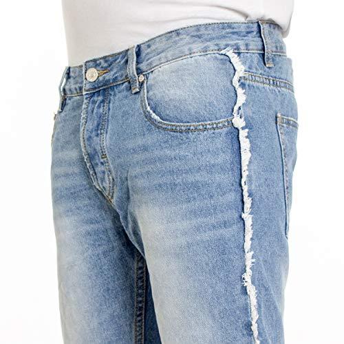 Giosal Rotture Sfrangiato Uomo Jeans Tasche Stonewashed Cinque Slim Pantalone Denim Chiaro Cotone Iqw7qnxrRX