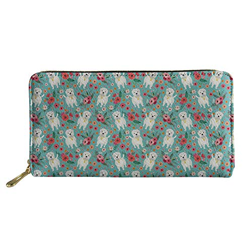 (Coloranimal Unisex Travel Clutch Bag Slim Zipper Closure Long Leather Wallets Cute Westie Flower Pattern Shopping Traveling Coins Credit Cards)