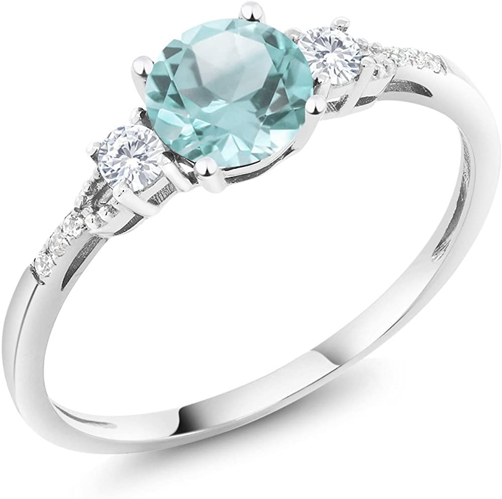 Gem Stone King 10K White Gold Sky Blue Topaz White Created Sapphire and Diamond Accent 3-stone Women Engagement Ring (1.05 Cttw, Available in size 5, 6, 7, 8, 9)