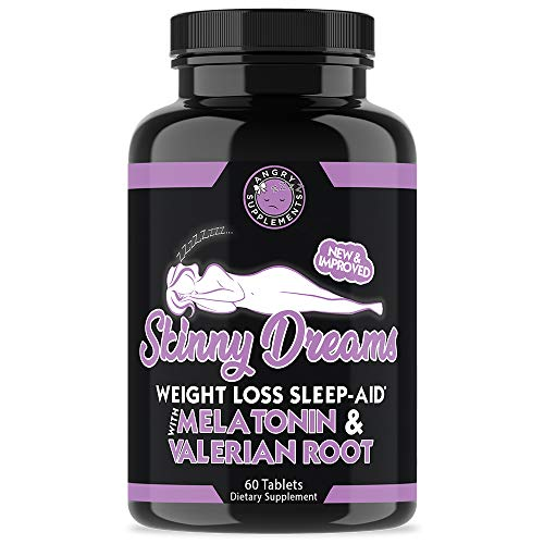 Angry Supplements Skinny Dreams, Night Time Sleep Aid for All-Natural Weight Loss, Restful Sleep w/Melatonin, Burn Fat Overnight, Suppress Appetite, Non-GMO Vegetarian Formula (1-Bottle)