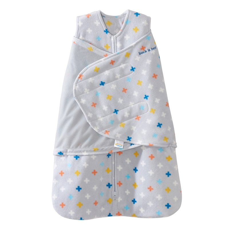 Halo SleepSack Swaddle, Micro-Fleece, Plus/Signs Multicolor, Small