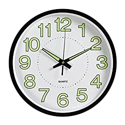 WINOMO 12inches Luminous Wall Clock Silent Movement Round Clock Home Kitchen Decorations