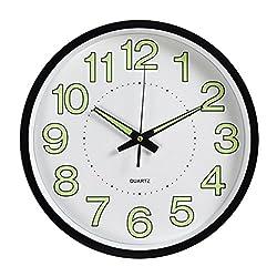 WINOMO 12inches Luminous Wall Clock Silent Movement Round Clock Home Kitchen Decorations (Black)