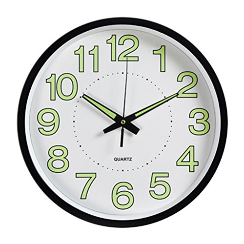 Toyvian Modern Wall Clock - 12inches/30cm Decorative Clock, Glow in The Dark, Kids Bedroom Living Room Use