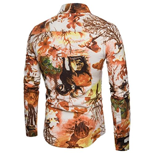 931f178c Men's Print Shirt Casual Flax Landscape Button Down Dress Shirts Blouse  Zulmaliu(S-5XL
