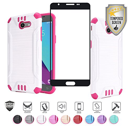 Samsung J3 2017 J3 Prime J3 Emerge Amp Prime 2 Express Prime 2 Sol 2 Mission Eclipse Luna Pro Case, with Full Edged Tempered Glass Screen Protector, Metallic Brushed Hybrid Case Cover (White/Hot Pink)