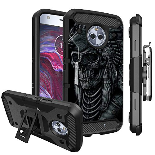 Untouchble Case for Motorola Moto X4, Motorola Moto X4 Cover - Triple Protection Holster Belt Clip Holder Case with Kickstand TANK SERIES - Wolf Warrior by Untouchble
