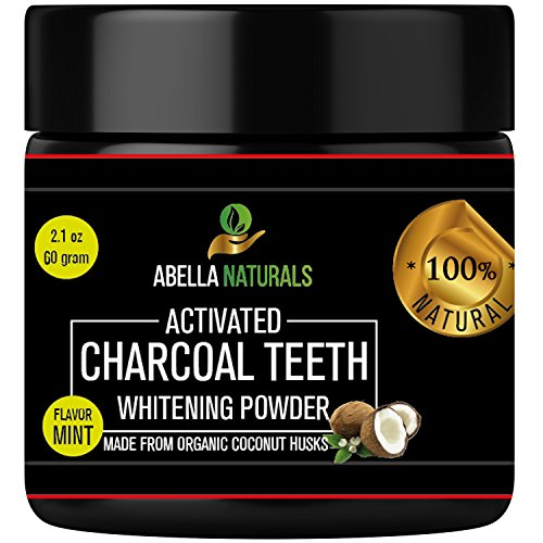 Activated Charcoal Teeth Whitening Powder: Natural Organic Coconut Whitener Polish With Baking Soda - Fluoride Free - Peppermint Flavor - 2.1 Ounces