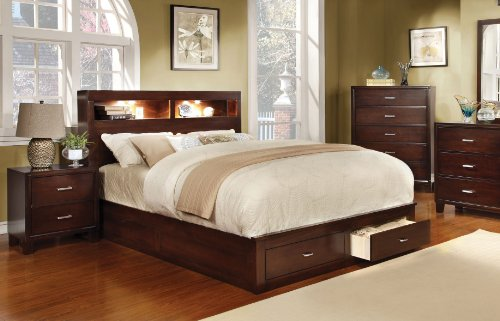 Nickel Finish Metal Headboard (Furniture of America Broadway Platform Bed with Storage Drawer and Light, Queen, Brown Cherry)