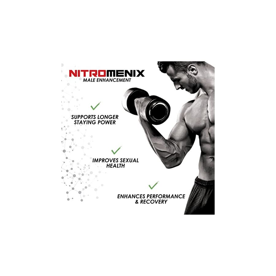 NitroMenix Nitric Oxide Booster Supports Longer Staying Power Improves Sexual Health Enhance Performance and Recovery 60 Capsules