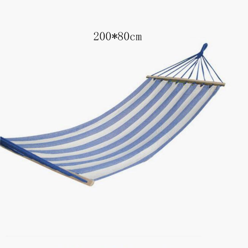 Hängematte Outdoor Hängematte Schlafzimmer Camping Hängematte massive Holz Hängematte Casual einzigen Person tragbare blaue Leinwand Hängematte (200  80cm)