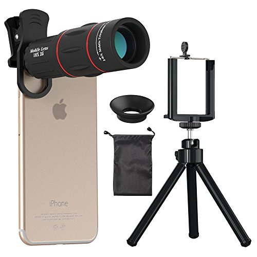 Cell Phone Camera Lens, Fivefar 18X Zoom Telephoto Universal Clip On Lens Kit for iPhone 8/7/6S/6 Plus/5/4,Samsung, Android and Other Phones