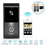 Wi-Fi Video Doorbell, Hixon Smart Wireless Video Doorbell, Real-Time Two-Way Talk and Video, Night Vision, PIR Motion Detection and App Control for IOS and Android (Black)