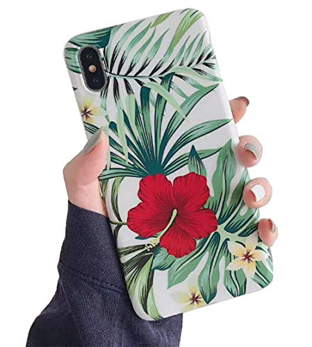 : KUMTZO Compatible iPhone 8 Plus Case/iPhone 7 Plus for Girls Women, Green Leaves with Red Flowers Pattern Design,Cute Slim Fit Soft TPU Cover for iPhone 5.5 inch(01)