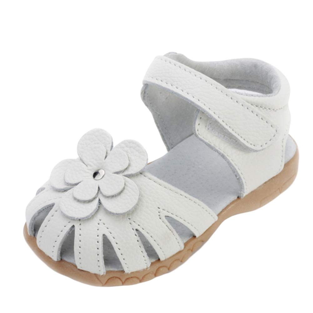 ONCEFIRST Little Girls Genuine Leather Sandals Soft Closed Toe Princess Flat Shoes