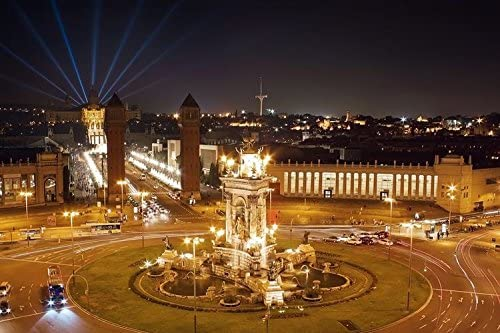 lunaprint View of City and Plaza Espana At Night In Barcelona ...