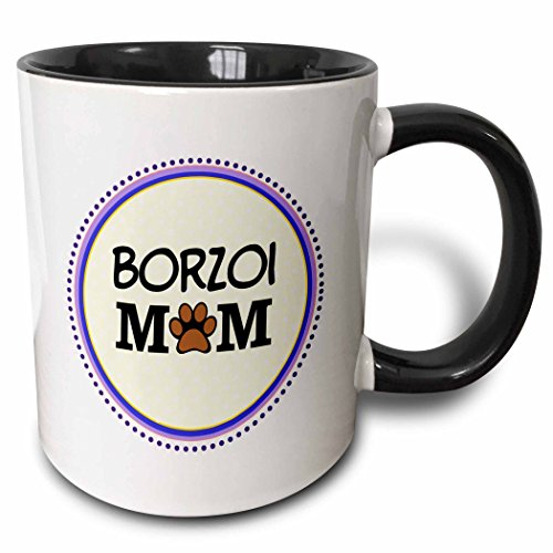 Borzoi Mug (3dRose (mug_151703_4) Borzoi Dog Mom - Doggie mama by breed - paw print mum love - doggy lover - proud pet owner circle - Two Tone Black Mug, 11oz)