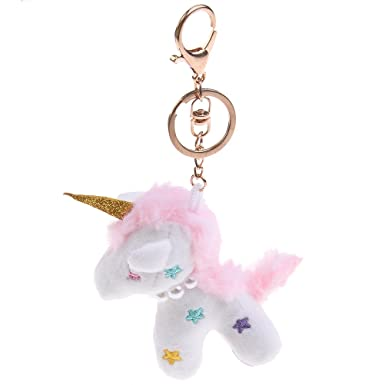 75ba40d80f SuxiDi Plush Unicorn Purse Bag Pendant Plush Toy Key Chain with Clip Handbag  Wallet Car Key Ring