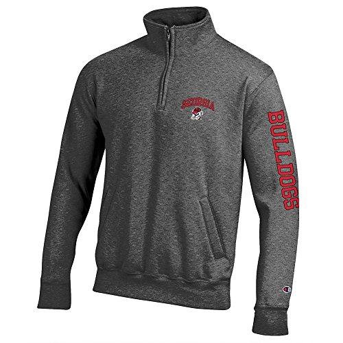 Elite Fan Shop Georgia Bulldogs Quarter Zip Sweatshirt Letterman Charcoal - L ()