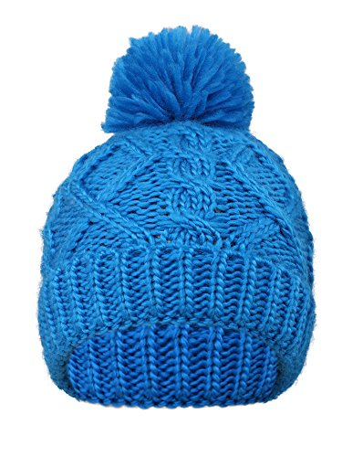 Younglove Soft Winter Cable Knit Pom Pom Beanie Winter Hat Cap For Boys/Girls,Sky Blue by YoungLove (Image #1)