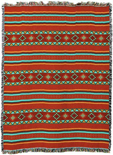 Pure Country Weavers - Saddle Southwest Blanket - Woven Tapestry Camp Throw with Fringe Cotton USA 72x54 ()