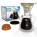 Double Wall Glass Server, Stainless Steel Filter Basket and Cradle & Hemp Cone Coffee Filter -Triple Combo By Bolio