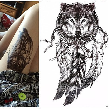 Wholesale 1 pcs Wolf with Feather 21x15cm Cool Beauty Tattoo Waterproof Temporary Tattoo Stickers free shipping