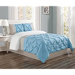 Grand Linen 2 Piece TWIN size LIGHT Blue/Grey/WHITE Double-Needle Stitch Puckered Pinch Pleat All-Season Bedding-Goose Down Alternative Embroidered Comforter Set
