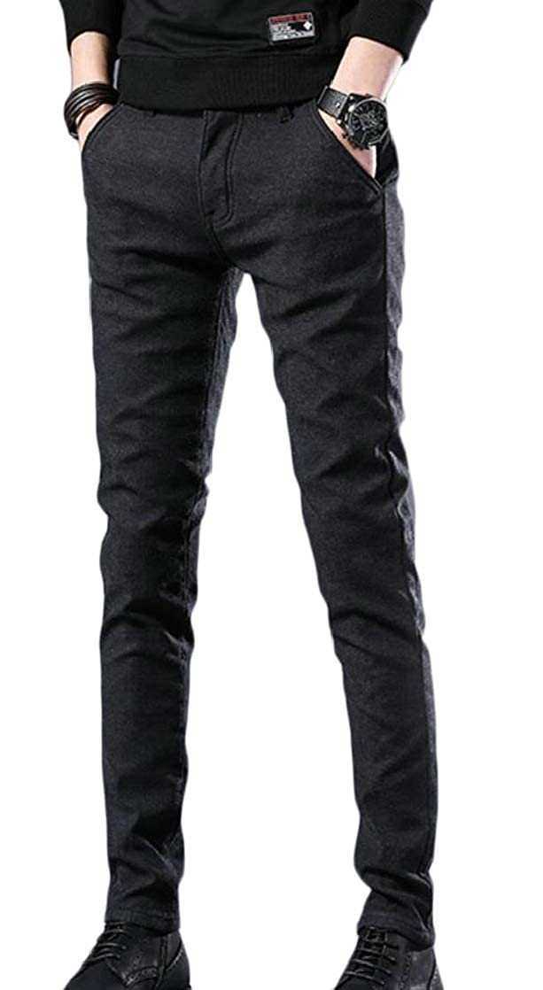 Macondoo Mens Stylish Straight Mid Rise Trousers Stretchy Pants