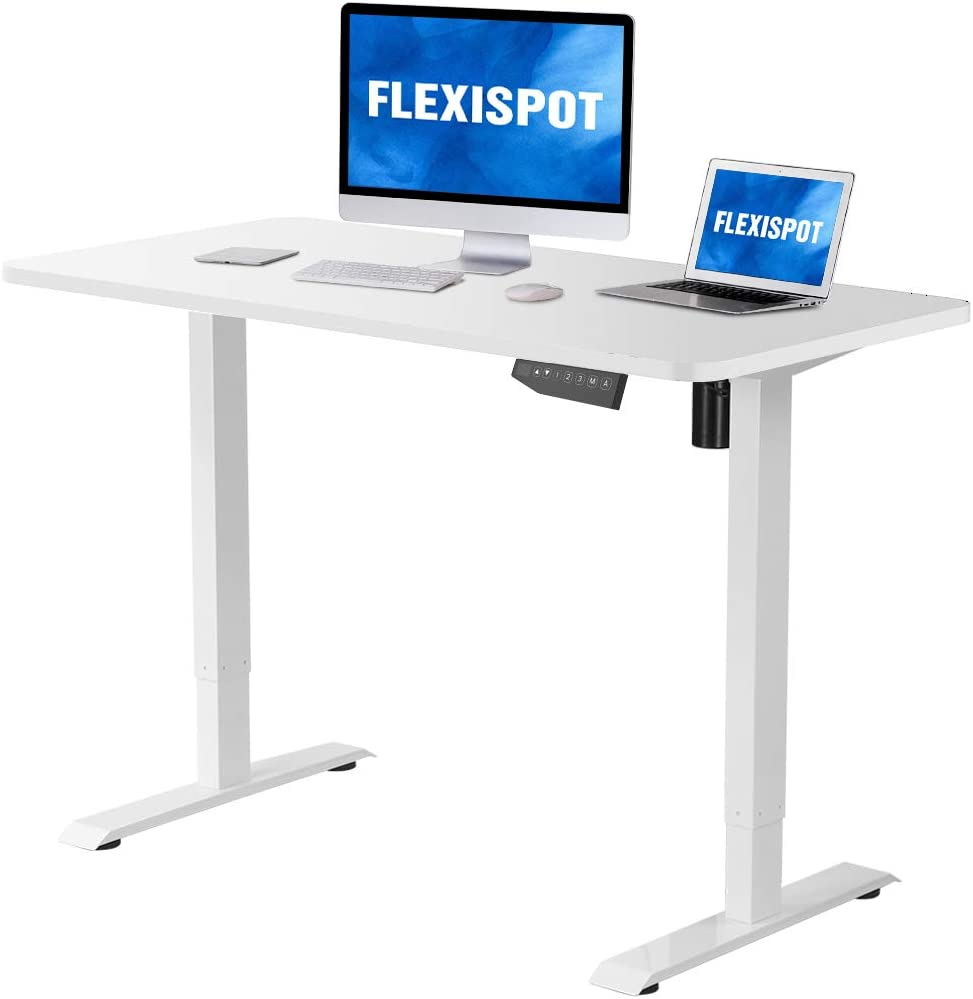 Flexispot Electric Stand Up Desk Workstation with Desktop, 48 x 30 Inches, Ergonomic Memory Controller Standing Desk Height Adjustable White Frame 48 White Top